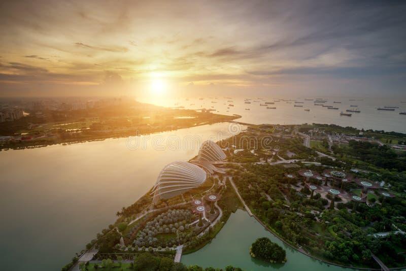 Vista a?rea de los jardines de Singapur cerca de Marina Bay en Singapur por ma?ana fotos de archivo libres de regalías