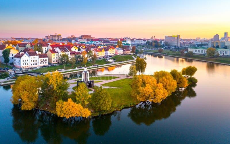 Vista a?rea de Nemiga, Minsk belarus imagenes de archivo
