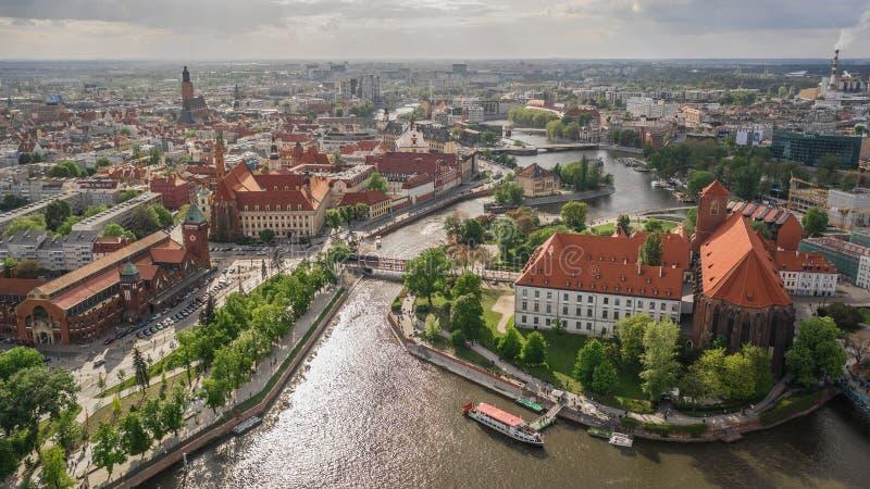Vista a?rea de Wroclaw foto de archivo libre de regalías