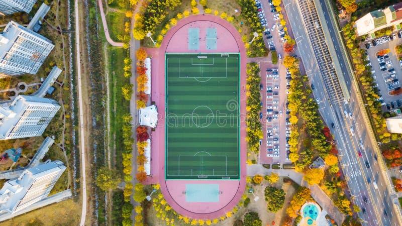 Vista a?rea del campo de f?tbol en Corea del Sur foto de archivo libre de regalías