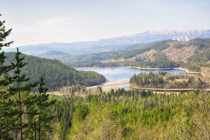 Vista a?rea del lago Selbu, Noruega imagen de archivo