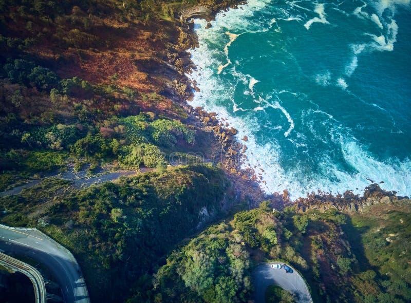 Vista a?rea del mar c?ntabro del soporte Igueldo, Donostia espa?a imagen de archivo libre de regalías
