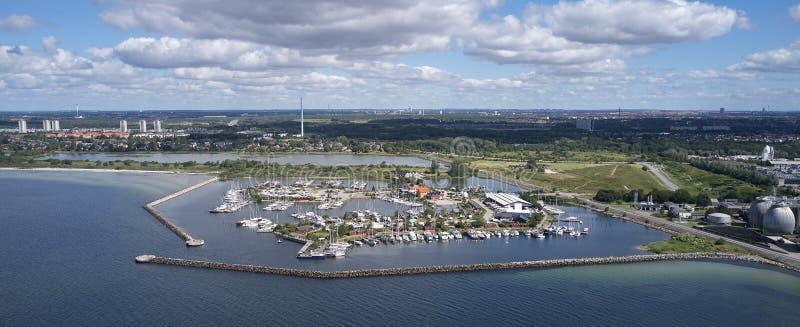 Vista a?rea do porto de Broendby, Dinamarca fotografia de stock
