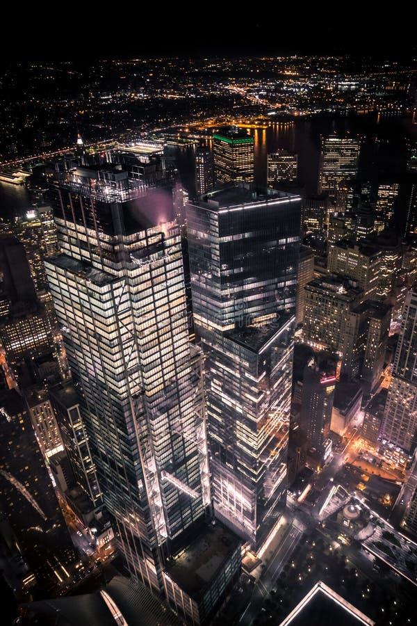 Vista regional de um World Trade Center na noite fotografia de stock royalty free