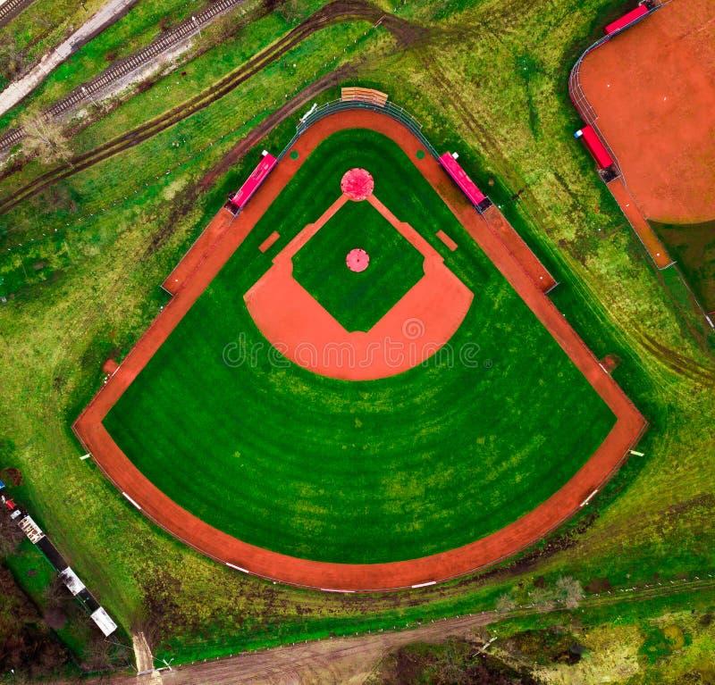 Vista regional a la y único campo de béisbol en Budapest fotografía de archivo libre de regalías