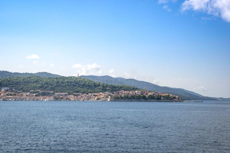 Vista regional no litoral perto de Orebic, Croácia imagens de stock royalty free
