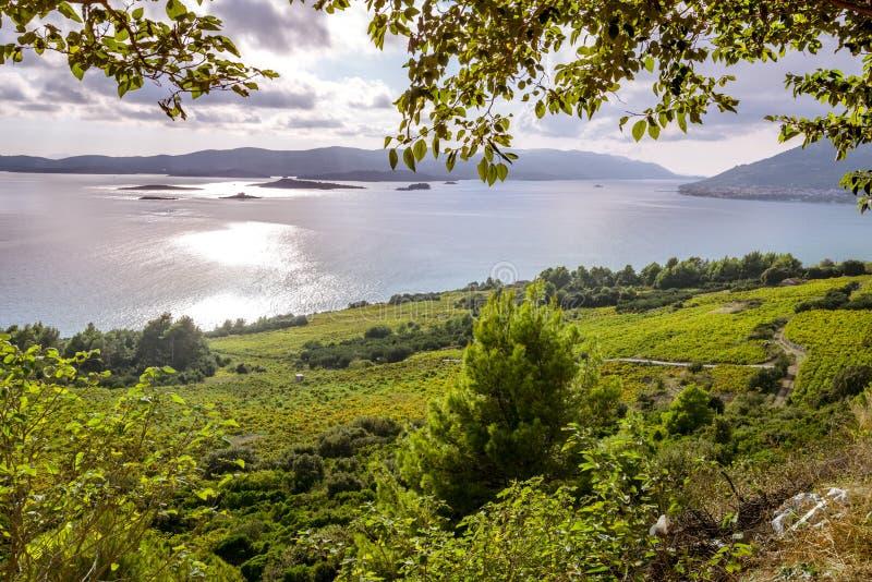 Vista regional no litoral perto de Orebic, Croácia imagem de stock