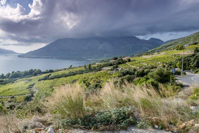 Vista regional no litoral perto de Orebic, Croácia fotografia de stock