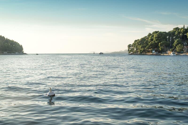 Vista regional no mar e litoral em Cavtat, Croácia fotografia de stock