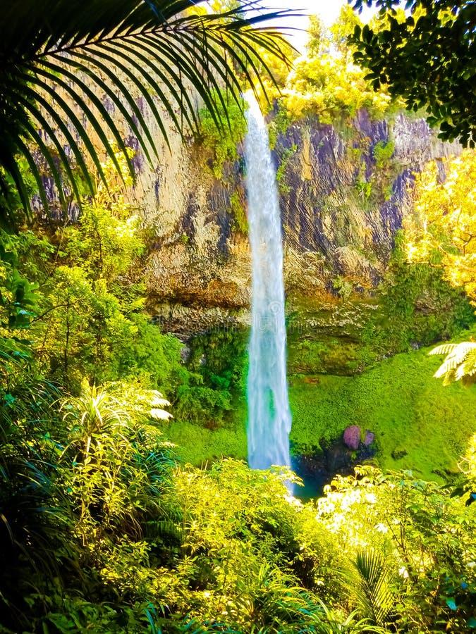 Vista romántica de la cascada tranquila al lago del agua dulce imágenes de archivo libres de regalías