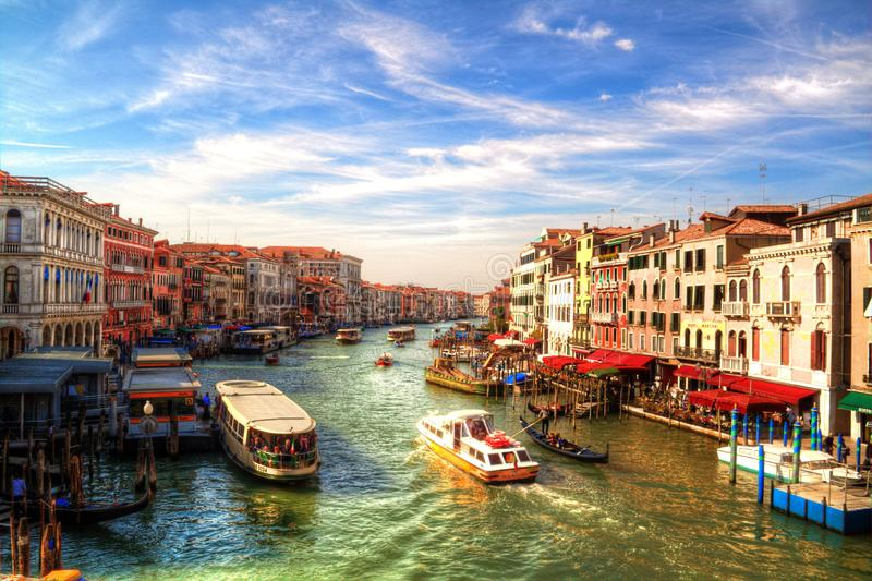 Vista romântica de Grand Canal, Veneza, Itália fotografia de stock