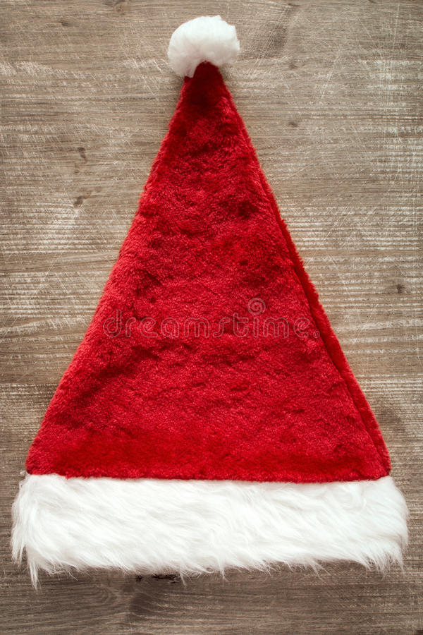 Vista rossa di disposizione della cima del cappello di Santa Claus immagine stock libera da diritti