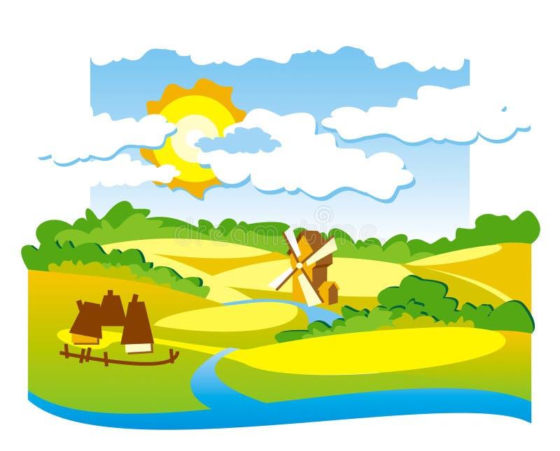 Vista rurale con il mulino a vento illustrazione vettoriale