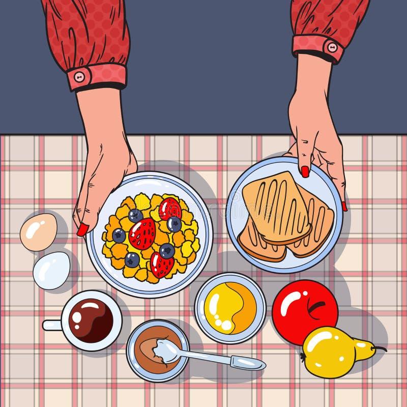 Vista sana del piano d'appoggio della prima colazione con le mani femminili che tengono ciotola, frutti e le uova Stia il concett illustrazione di stock