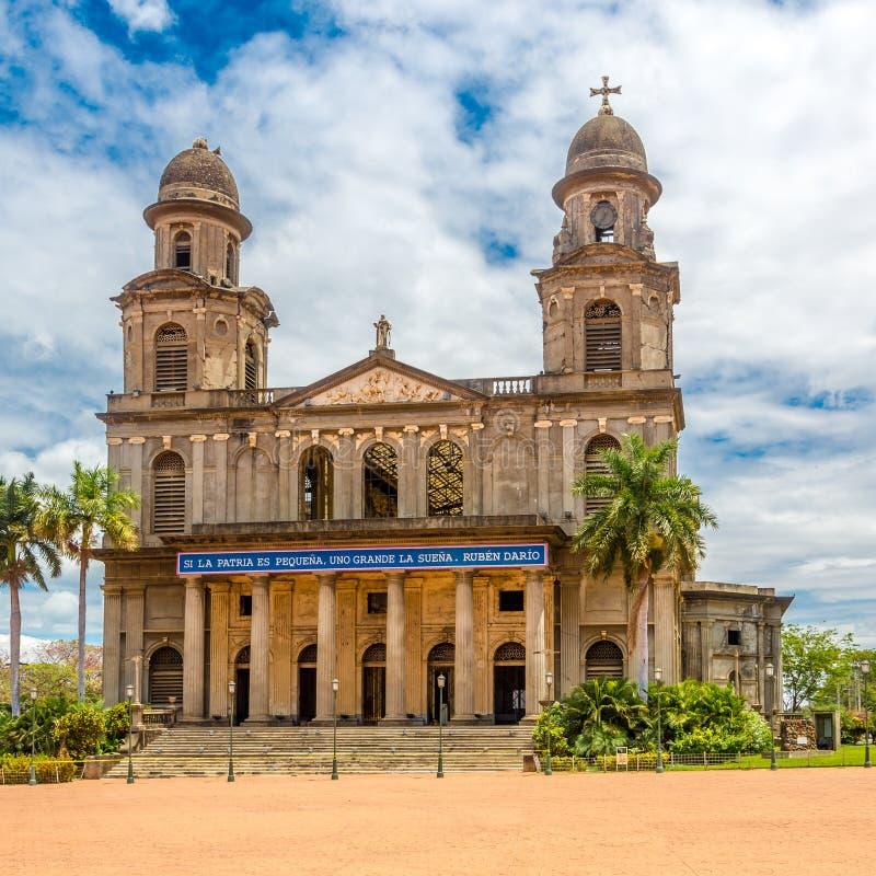 Vista a Santiago Cathedral anziano di Managua - il Nicaragua fotografia stock libera da diritti
