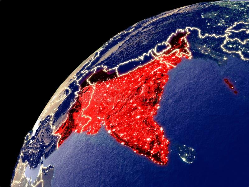 Vista satélite da Índia britânica na terra ilustração stock