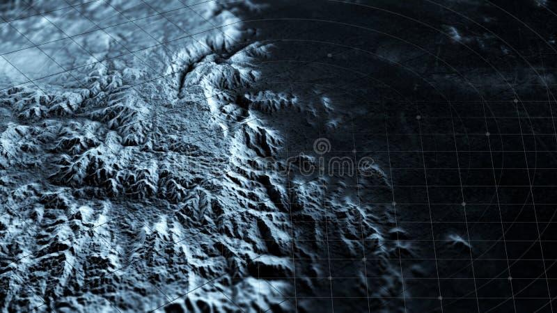 Vista satélite da terra, operações da guerra, ficção científica, visão noturna Alvo militar Relevos e planícies da montanha ilustração royalty free