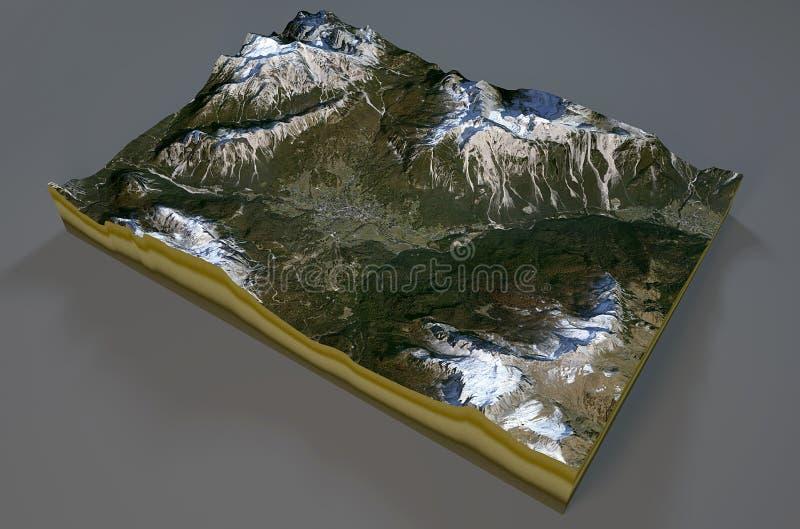 Vista satélite de Cortina d'Ampezzo, montanhas, dolomites, Itália ilustração do vetor