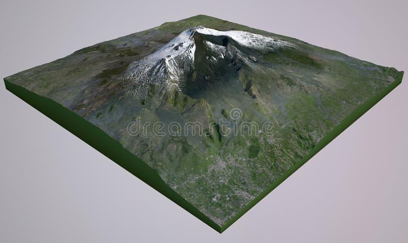 Vista satélite de Monte Etna ilustração royalty free