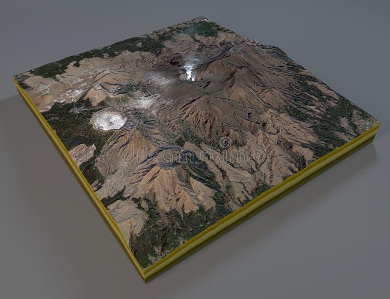 Vista satellite della sezione del Monte Aso, vulcano, Giappone royalty illustrazione gratis