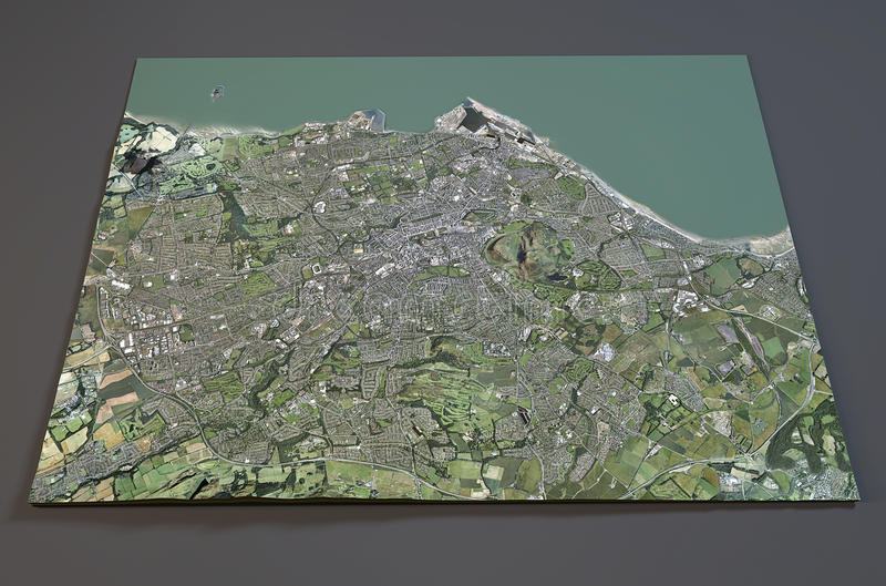 Vista satellite di Edimburgo, Inghilterra illustrazione di stock