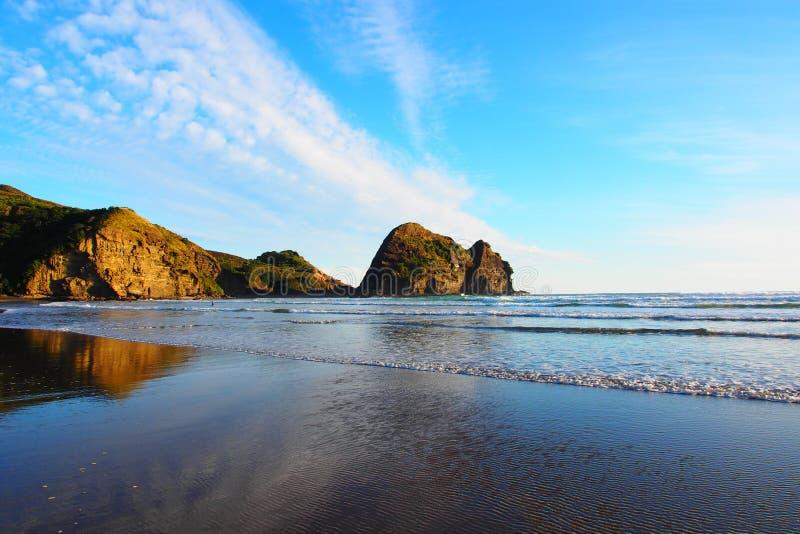 Vista sbalorditiva della spiaggia di Piha, isola del nord della Nuova Zelanda fotografia stock libera da diritti