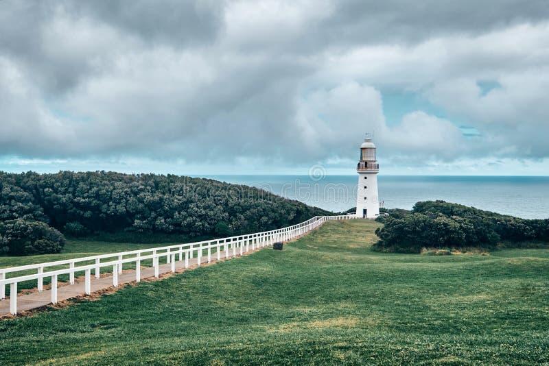 Vista scenica del faro di Otway del capo, Australia, Victoria fotografie stock
