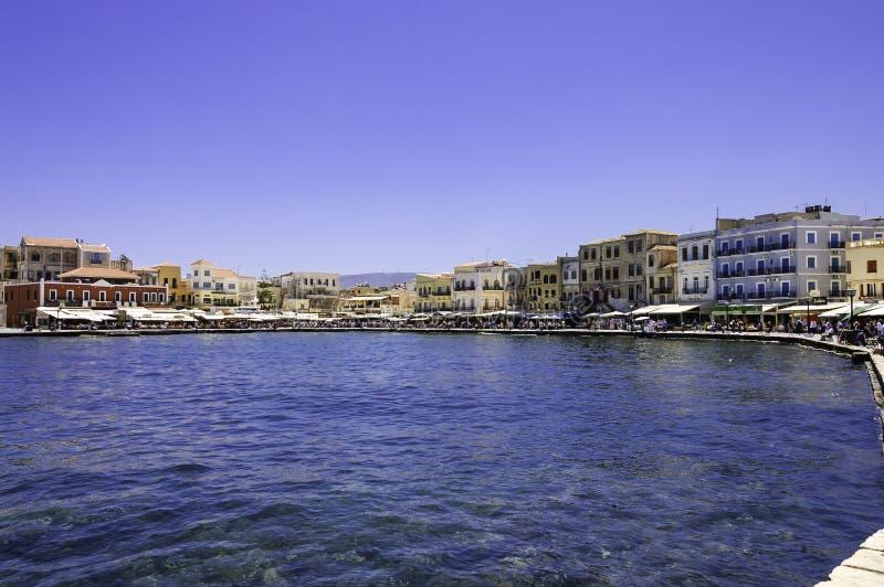 Vista scenica del porto di Chania fotografia stock libera da diritti