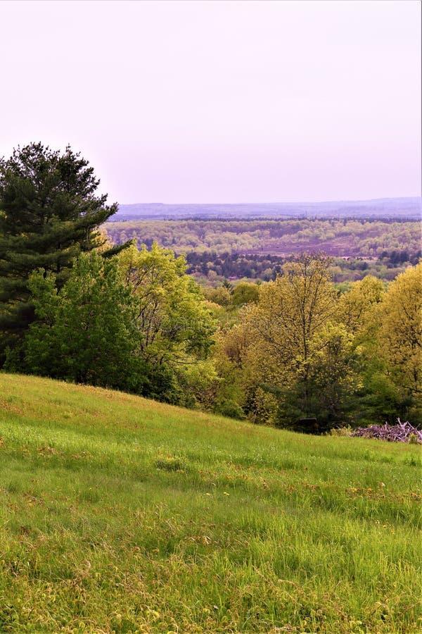 Vista scenica del rifugio nazionale di Oxbow Wildlfe preso da Harvard, Massachusetts, Stati Uniti fotografia stock