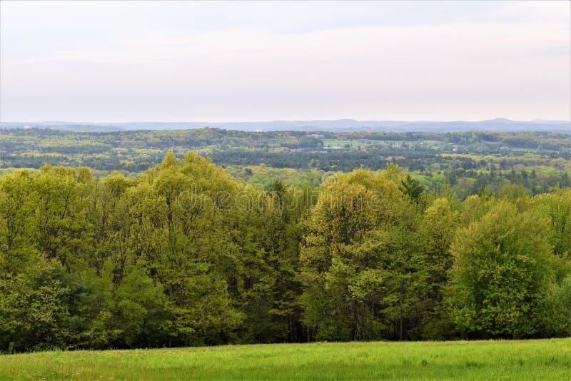 Vista scenica del rifugio nazionale di Oxbow Wildlfe preso da Harvard, Massachusetts, Stati Uniti fotografie stock