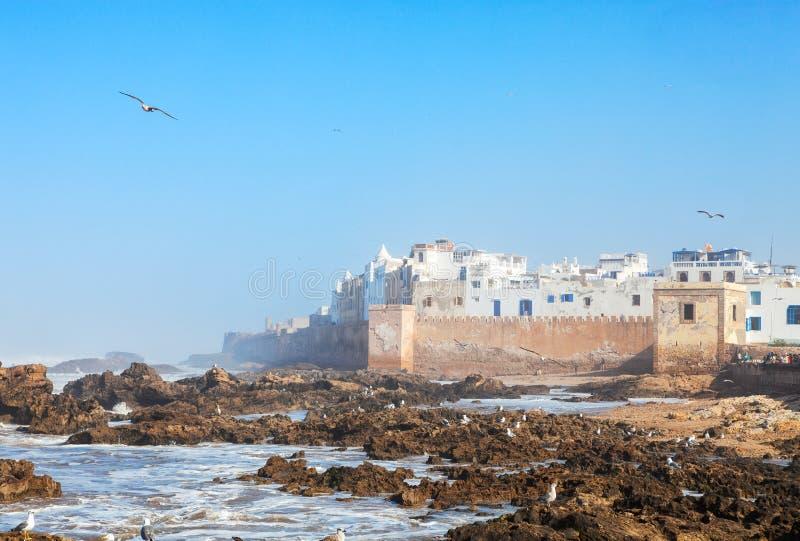 Vista scenica di vecchio Medina di Essaouira, lungo l'Atlantico, il Marocco fotografia stock libera da diritti