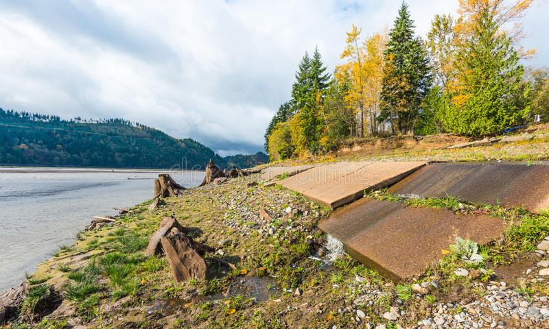 Vista scenica in Rocky Point Campground quando stagione di autunno immagine stock