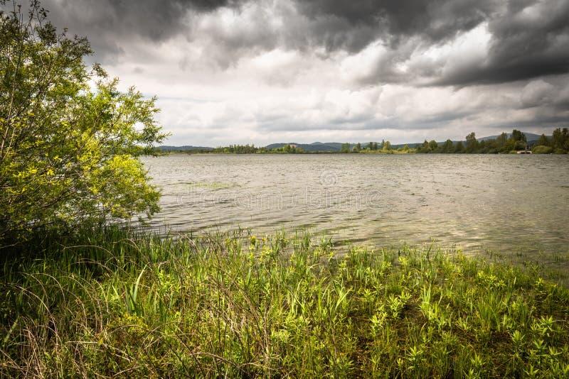 Vista scenica sul bello cerknica intermittente del lago, con acqua, stagione primaverile, Slovenia fotografie stock