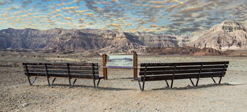 Vista scenica sulla valle nel parco Timna, Israele del deserto della natura immagini stock