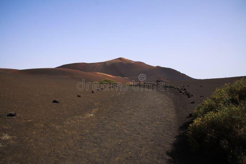 Vista sobre a areia vulcânica preta da lava no cone vermelho do vulcão com o arbusto perdido verde isolado - Montana del Fuego, L imagens de stock