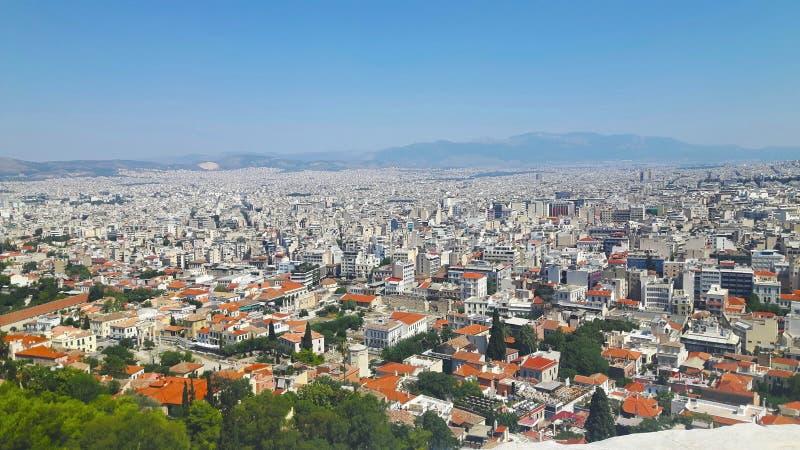 Vista sobre Athen nas f?rias de ver?o em greece fotografia de stock