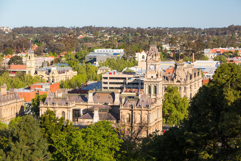 Vista sobre a câmara municipal de Bendigo fotos de stock royalty free