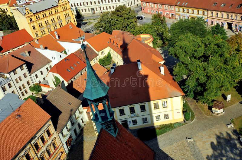 Vista sobre a cidade de Pisek, República Checa imagens de stock royalty free