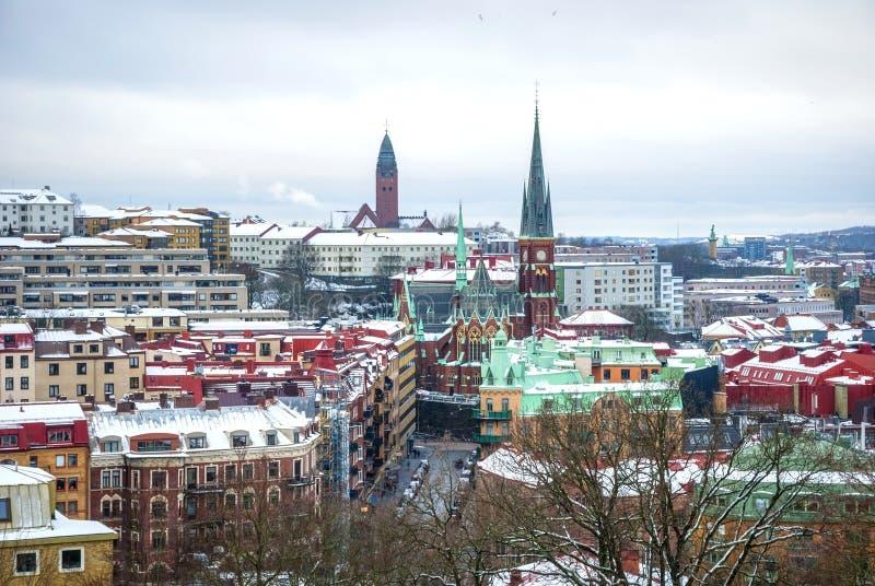 Vista sobre Gothenburg no inverno, foto de HDR imagens de stock royalty free