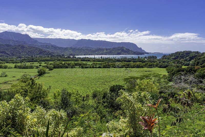 Vista sobre la bahía de Hanalei y la costa de Na Pali Princeville Kauai Hawaii USA imágenes de archivo libres de regalías