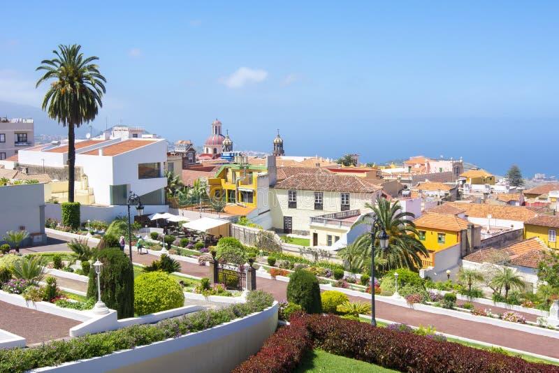Vista sobre La Orotava, Tenerife, Ilhas Canárias, Espanha imagem de stock