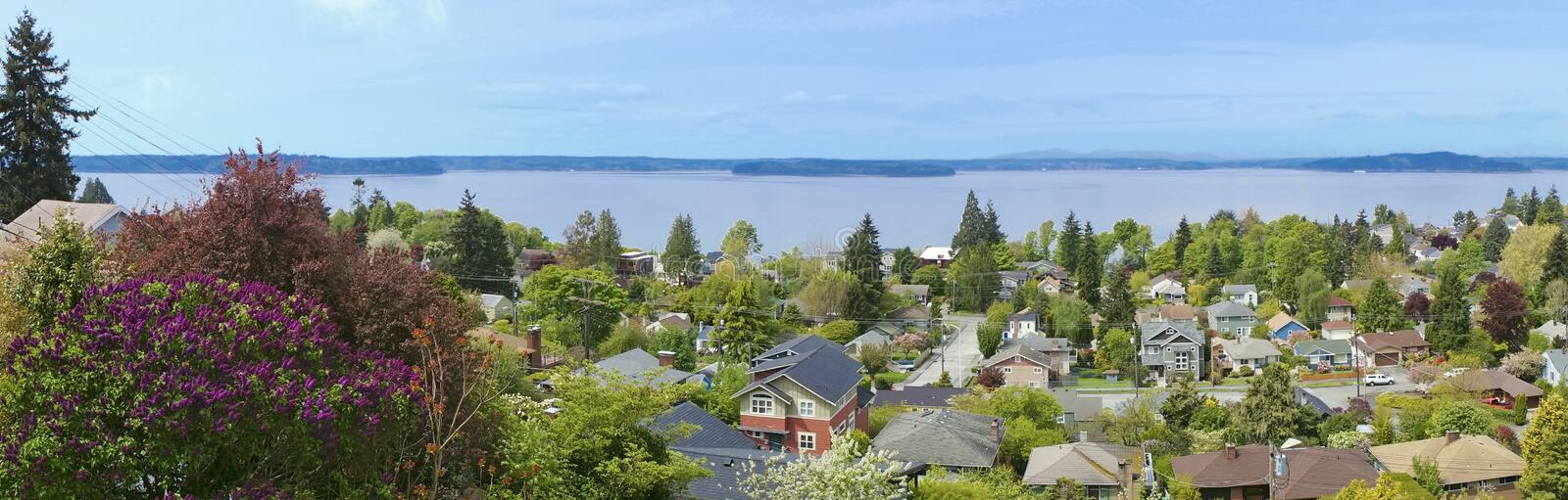 Vista sobre o neighboorhood em Seattle ocidental. WA. imagem de stock