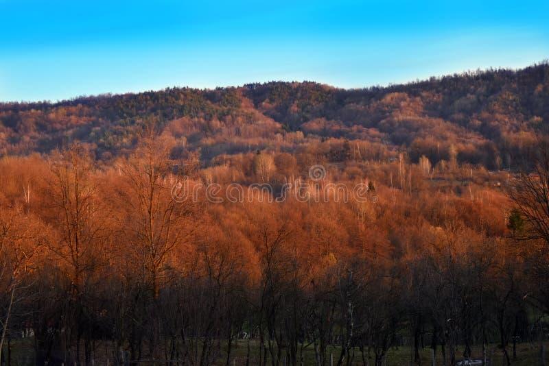 Vista sobre o vale e os montes em um dia de mola ensolarado Paisagem do pa?s imagens de stock royalty free