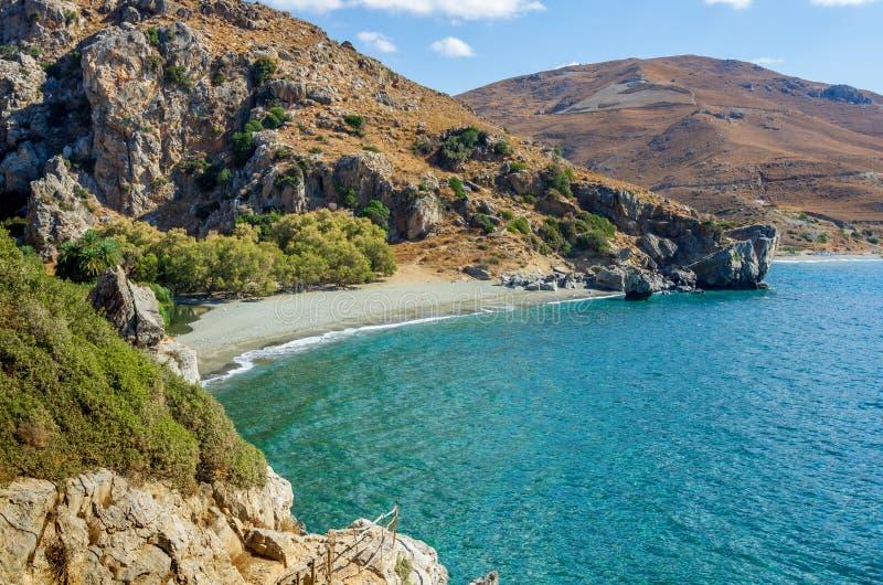 Vista sobre a praia de Preveli, Creta fotografia de stock