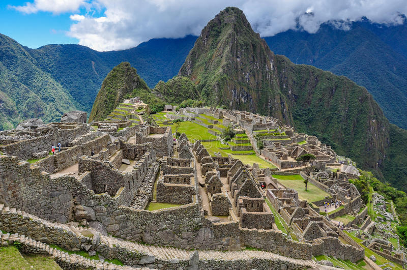 Vista sobre ruínas do Inca de Machu Picchu, Peru fotografia de stock