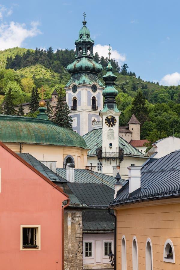 Vista sobre telhados da cidade Banska Stiavnica foto de stock