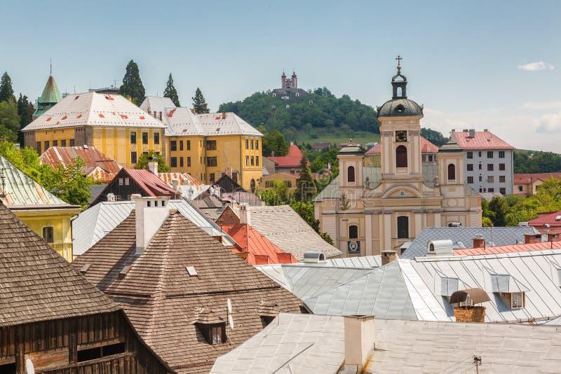 Vista sobre telhados da cidade Banska Stiavnica imagens de stock royalty free