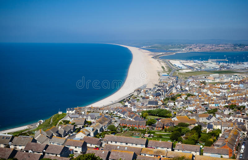 Vista de Portland de um ponto de vista, Dorset, Inglaterra foto de stock