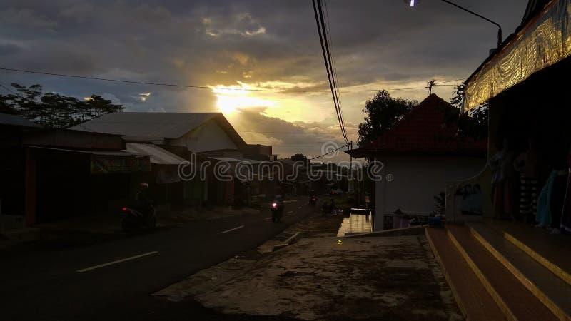 Vista sola di tramonto di Karanganyar fotografie stock libere da diritti