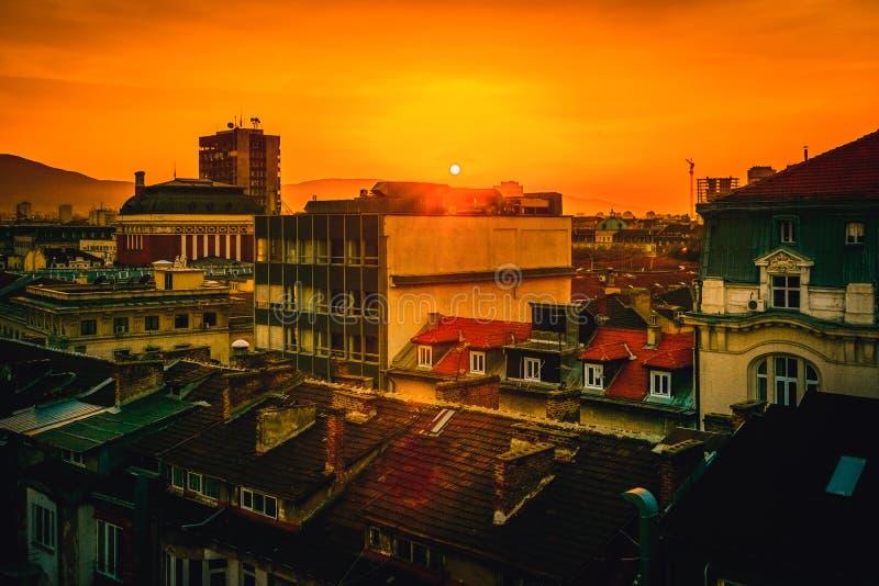 Vista sopra il centro urbano in Sofia Bulgaria immagine stock libera da diritti